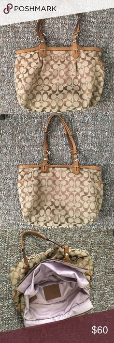 Coach Shoulder Bag Inside is extremely clean. Outside has wear on back and bottom as shown in pictures. Coach Bags Shoulder Bags
