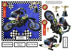 Motor Cross Winner Card Topper Decupage on Craftsuprint - Add To Basket!
