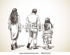 Sketch of walking indian family, Hand drawn illustration, From back