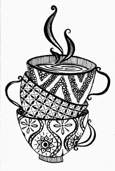 "Stack of teacups in black & white ""Zentangle"" illustration"