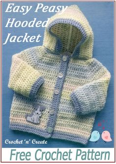 Simple, easy month baby hooded jacket, get the FREE baby crochet pattern on crochetncreate. Crochet Baby Cardigan Free Pattern, Crochet Baby Jacket, Baby Sweater Patterns, Crochet Baby Booties, Baby Patterns, Free Baby Crochet Patterns, Clothes Patterns, Dress Patterns, Sewing Patterns