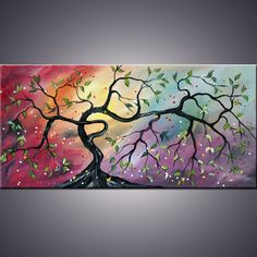 Pretty colorful tree painting idea, artinER on etsy