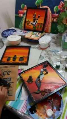Cardboard Box Crafts, Clay Crafts, Arts And Crafts, Clay Wall Art, Clay Art, African American Art, African Art, Mural Art, Murals