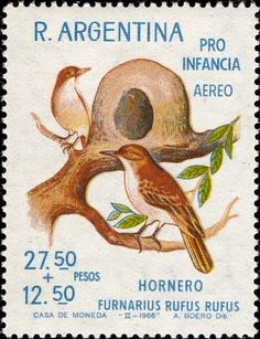 Stamps showing Rufous Hornero Furnarius rufus, with distribution map showing range Historia Natural, Argentina Travel, My Themes, Bird Cards, Vintage Stamps, Mail Art, Stamp Collecting, Graphic Design Illustration, Birds