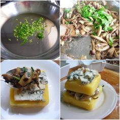 Mushroom & Gorgonzola Pressure Cooker Polenta Lasagna | hip pressure cooking  Try with feta, goat cheese or other crumbly  cheese.