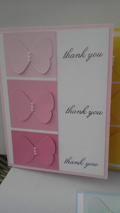 cards made from paint chips | used the thank you stamp from Because I Care and stamped thank you ...