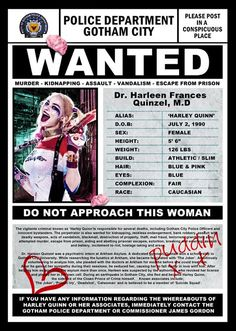 Harley Quinn Wanted Poster by TheZeroRoom on Etsy