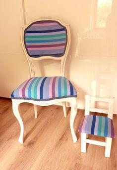Conjunto de sillas pintadas y tapizadas