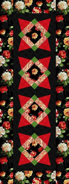 Free pattern- Quilt-a-Rose-is-a-Rose-runner Posted Classic Cottons- Free Quilt Patterns-Archive Free download...