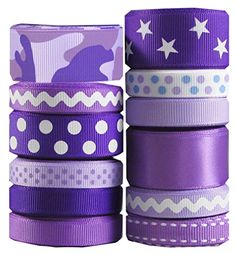 "HipGirl Monochrome & Eiffle Tower I Love Paris Grosgrain Ribbon (60yd(12x5yd) 3/8"" 5/8\"" or 7/8\"" Grosgrain Ribbon--Purple)--Color May Vary-a015 -- Be sure to check out this awesome product."