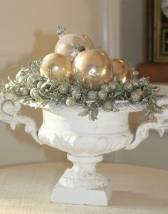 urn filled with ornaments