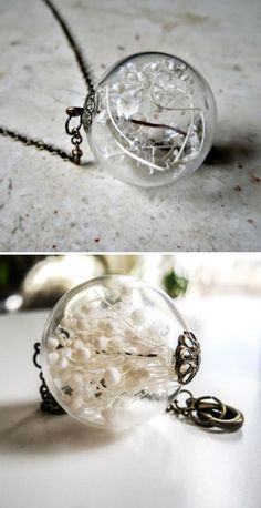 Baby's Breath Orb Pendant. I'd put a dandelion in there instead!