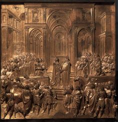 Solomon and the Queen of Sheba 1425-52 | Gilded bronze, 79 x 79 cm | Baptistry, Florence | Lorenzo Ghiberti