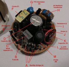 Components of CFL electronic ballast fuse (B) choke (M) rectifier bridge (A) capacitor (D) (L) NTC (thermistor) Capacitor (K) diode (J) choke (F) serial capacitor (C) transistors (I) (H) feedback transformer (E)capacitor PTC thermistor (G) Basic Electrical Wiring, Electrical Engineering Books, Electrical Circuit Diagram, Electrical Projects, Electronic Engineering, Electrical Plan, Electrical Components, Hobby Electronics, Electronics Components