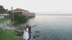Wedding of Laura & Austin Cook at Rusty Pelican shot by drone by Tampa Photographer http://celebrationsoftampabay.com/