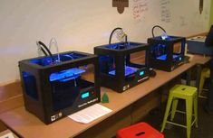 A bank of 3D printers.  We don't have to use a room just like this but it's a general idea