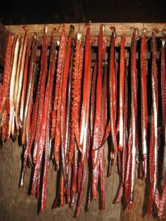 King salmon strips in smokehouse, photo by Colleen Laraux