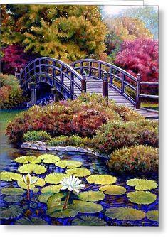 Bridge Painting by John Lautermilch - Japanese Bridge Fine Art . Beautiful Paintings, Beautiful Landscapes, Beautiful Gardens, Landscape Art, Landscape Paintings, Bridge Painting, Pond Painting, Fine Art, Nature Wallpaper