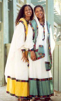 Traditional Dress of Ethiopia Ethiopian Beauty, Ethiopian Dress, Ethiopian Traditional Dress, Traditional Dresses, African Beauty, African Women, Saris, Addis Abeba, Ethiopian People