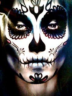 More sugar skull men's makeup.