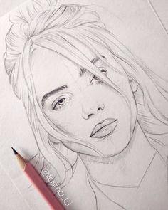 A pencil sketch of Billie Eilish fatima pencil art fatima pencil sketch artoftheday art art # Pencil Sketch Drawing, Girl Drawing Sketches, Art Drawings Sketches Simple, Pencil Art Drawings, Realistic Drawings, Cool Drawings, Drawing Art, Drawing Ideas, Pencil Sketches Of Faces