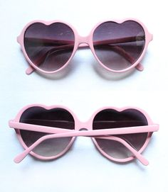 1990's Powder Pink Heart Sunglasses by LasCruxes on Etsy