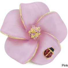 Goldtone Crystal Hawaiian Plumeria Flower and Ladybug Brooch ($20) ❤ liked on Polyvore featuring jewelry, brooches, pink, hawaiian flower jewelry, flower pin brooch, swarovski crystal jewellery, pin jewelry and pink flower brooch