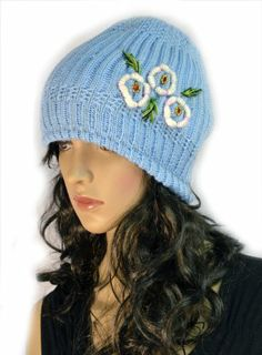 Blue Hand Knit Crochet Slouchy Winter Beanie Cap with Flower Trio Accent KENGDO,http://www.amazon.com/dp/B00I827GFO/ref=cm_sw_r_pi_dp_X9K.sb1SG97R8Q8Z
