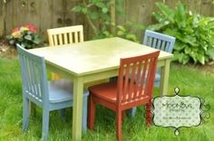 Children's Table and Chair Set by Moonbugdesigns on Etsy
