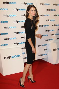 The LBLD Effect: Sexy, Chic, and Perfect For Party Season: Keri Russell channeled her sultry side in a lace-inset LBD, complete with lace pumps to match.
