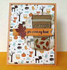 Card coffee cup MFT Die-namimcs coffee cup MFT perk up Thanks a Latte fall autumn leaf leaves thanksgiving #mftstamps Ville: Blog Hop + Giveaway