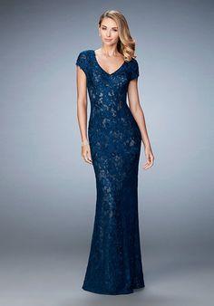 La Femme Evening 23071 Blue Mother Of The Bride Dress
