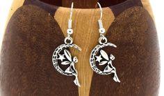 Boucles d'oreilles croissant de lune avec fée argent vieilli, bijoux fantaisies, bijoux enfants : Boucles d'oreille par breloqueandco