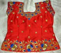 Rawsilk blouse with maggam work 7702919644 Kids Dress Wear, Dresses Kids Girl, Baby Dresses, Kids Wear, Kids Outfits, Kids Blouse Designs, Blouse Designs Silk, Blouse Patterns, Baby Lehenga