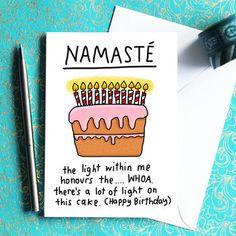 Namaste Birthday Card For Yogis Or Yoga Teachers