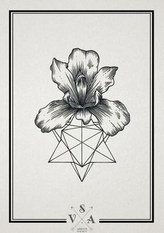 Flower and geometric lines tattoo drawing   SV.A (Andrey Svetov)