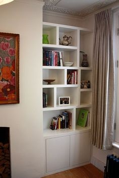 On the main wall in our living room, we added an easy DIY floating shelf with brackets. It was one of my favorite projects in our modern rustic living room makeover and is a major focal point in the room! Alcove Storage, Alcove Shelving, Recessed Shelves, Bathroom Storage, Storage Ideas, Mdf Furniture, Fitted Bedroom Furniture, Cabinet Furniture, Kitchen Furniture
