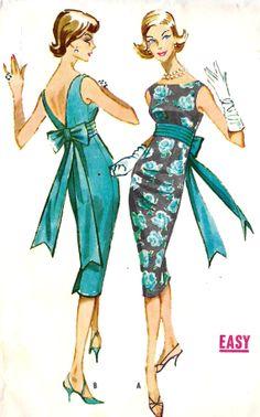 1950s Misses Empire Cocktail Dress