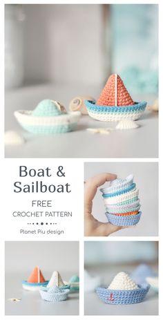 Crochet Boat, Crochet For Boys, Love Crochet, Crochet Gifts, Crochet Keychain Pattern, Crochet Amigurumi Free Patterns, Tutorial Crochet, Crochet Brooch, Crochet Projects