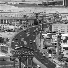 Old School Vegas - great vintage photo of the Las Vegas Strip. www.all-chips.com has old Vintage chips from here for sale too!