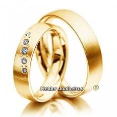 Aliança Com Diamantes - Ouro 18k 750