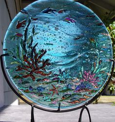 Custom order fused dichroic glass sculpted ocean glass art plate, view 2