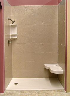 Beau Onyx Shower With Tile Look Wall Panels, Bench Seat And Corner Caddy.