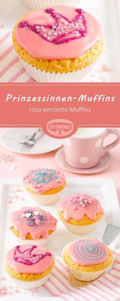 Prinzessinnen-Muffins: Rosa verzierte Muffins für kleine und große Prinzessinnen #muffin #kindergeburtstag #prinzessin