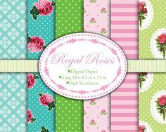 "Regal Roses-Digital Paper Set- 6 8.5""x11"" files. $3.25, via Etsy."