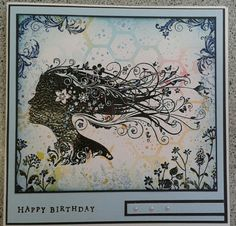 Using the free stamp from Lavinia on an embossing folder background