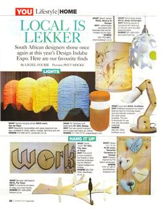 """You Magazine, South Africa.    """"Striking pieces of functional art..."""""""