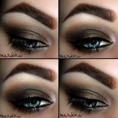 This eye makeup uses different shades of brown eye shadow for a dramatic and elegant look. Lush eye lashes make this night out look more gorgeous. Click here for the products used.