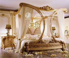 Tempat Tidur Pengantin Mewah Kanopi Lengkung