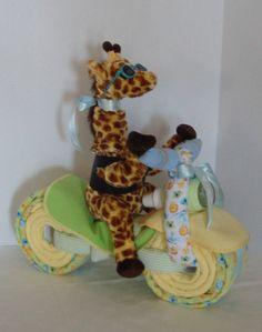 Motorcycle Bike Diaper Cake, Jungle, Safari, Giraffe, Lion,  Monkey,Baby Shower Gift, Centerpiece, Baby Cake,  Neutral Baby Gift, New Baby. $79.00 USD, via Etsy.